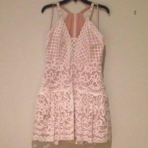 BCBG white center back zipper crochet  lace dress